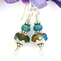Turquoise and Amber Earrings, Czech Glass Silver Handmade Dangle Jewelry for Women