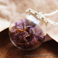 Nature Inspired Jewelry Real Dried Clover Necklace Graduation Gift (HM0074-SLIVER(B))