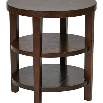 "Ave Six Merge 20"""" Round End Table - Espresso"