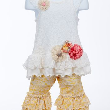 Stunning Lace Tunic Set with Flowers and Ruffles