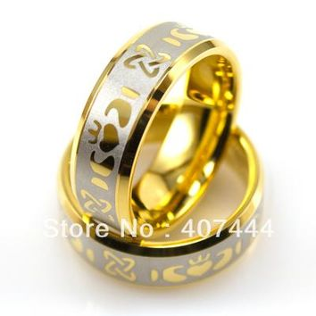 YGK Tungsten Wedding Ring 8mm Gold Bevel Claddagh Lasered Design for Man and Woman Wedding