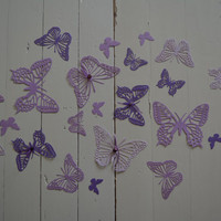 3D paper butterfly wall art from cardstock in ombre purple shades --- Beautiful wedding decor or let them fly around in your nursery