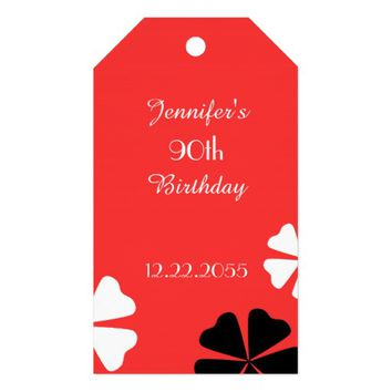 Red Floral Thank You Gift Tags, 2 Sided Gift Tags