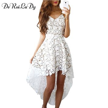 DeRuiLaDy Summer Fashion Women Sexy Dress Boho Casual Mini Bodycon Dresses Women White Sexy Lace Beach Maxi Dress vestidos