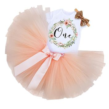 My Little Girl 1st Birthday Party Sets Baby Tutu Cake Smash Outfits Sets First Christmas Gift Toddler Girls Kids Baptism Clothes