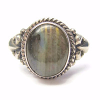 Oval Cut Labradorite Ring Sterling Size 8