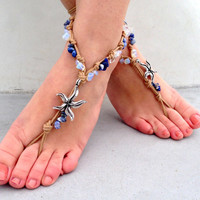 Barefoot sandals. beaded sandals, native america, sea star boho barefoot sandles, crochet barefoot sandals, , yoga, anklet hippie shoes