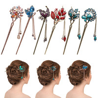 Various Fashion Women Elegant Bobby Pin Colorful Hairpin Rhinestone Hair Stick