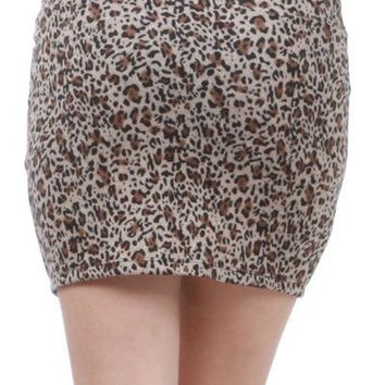 Sexy Animal Leopard Printed Stretch Jersey Knit Mini Skirt