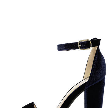 Something Sweet Navy Velvet Ankle Strap Heels