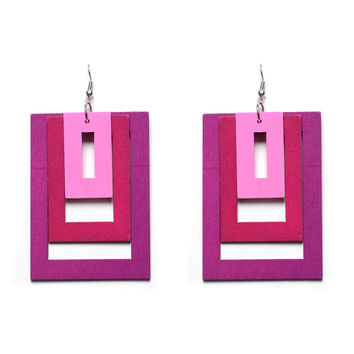 Hip Hop Europe Exaggerated Statement Earring Pop Style Rectangle Wood Punk Big Earrings for Women