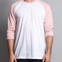 Men's Baseball T-Shirt TS900 (White/Dirty Pink) - B12C