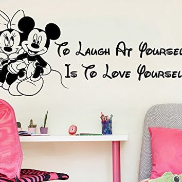 Wall Decals Quotes Vinyl Sticker Decal Quote Walt Disney Mickey Mouse To Laugh At Yourself Is To Love Yourself Nursery Baby Room Kids Boys Girls Home Decor Bedroom Art Design Interior C73
