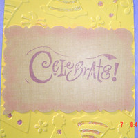 Purple yellow birthday envelope 4x51/4 child woman manOOAKHandmade card