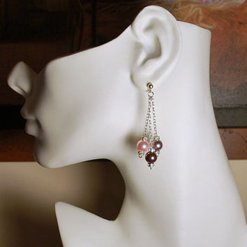 "2"" Swarovski rosaline, burgundy, and mauve faux pearl dangles with rondele crystals, round pearl drops, .925 sterling silver chain and posts"