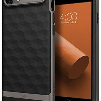 iPhone 8 Case / iPhone 7 Case Caseology [Parallax Series] Slim Protective Dual Layer Textured Cover Secure Grip Geometric Design for Apple iPhone 8 (2017) / iPhone 7 (2016) - Black / Warm Gray