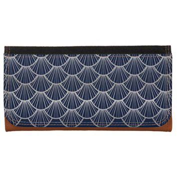 Art Deco Fans in Blue and Silver Wallets