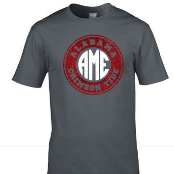 Alabama Gameday shirt -Circle Monogram - gray