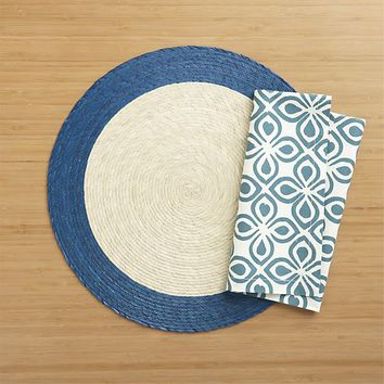 Tropic Palm Blue Trim Placemat.