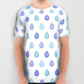 Blue raindrops All Over Print Shirt by Savousepate