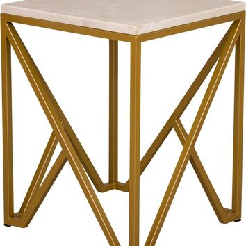 Kory End Table Powdercoated Gold With A White Granite Top
