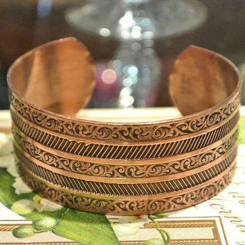 Solid Copper Cuff 1970s Wide Etched Scroll Work Intricate Design Southwestern Copper Bracelet Bangle Boho Chic Metal Jewelry Hip Hipster