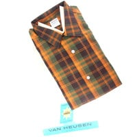 Vintage Loop Shirt 60s Unworn Plaid Long Sleeve Shirt Van Heusen Vanopress size Large in Original Package