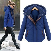 Fashion Leather Splice Winter Jacket Women Warm Slim Jackets Coat Plus Size Hooded Overcoat Casual Outwear