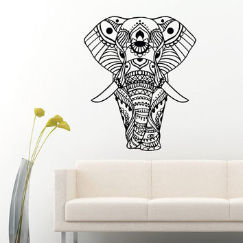 Indian Elephant Wall Decal Vinyl Sticker Yoga Elephant Animal Wall Decals  Murals Bedroom Dorm Yoga Studio