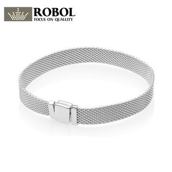 ROBOL 925 Sterling Silver Original PAN Bracelets Reflexions 597712 Bracelet Jewelry Female Mesh Chain High Quality 1:1 Template