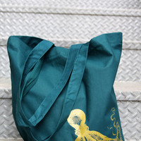Tote bag Teal cotton Gold Octopus by IledanDesignStudio on Etsy