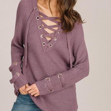 Lilac Lace Up Sweater