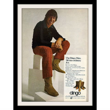 "1971 Dingo Boots Ad ""Joe Namath: Style"" Vintage Advertisement Print"