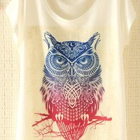 Owl Print T-shirt for Women Owl from topsales