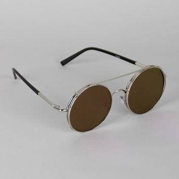 Metallic Trim Round Frame Clip-On Sunglasses