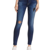 Hudson Nico Mid Rise Super Skinny Destructed Jeans in Tipping Point | Bloomingdales's
