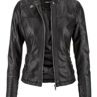 moto jacket with ribbed knit sides