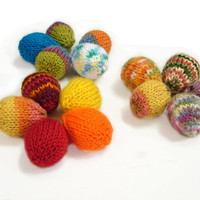Easter eggs, knitted soft eggs, colorful baby toys, party decorations, party favors, set of 5