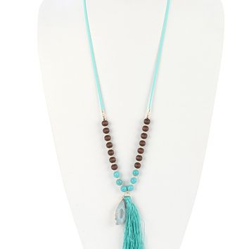 Turquoise Natural Stone Charm Long Tassel Pendant Necklace