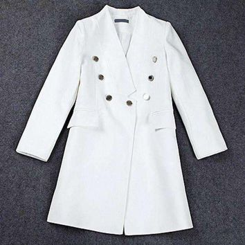 DCCKON3 lxunyi runway blazers Women long v neck slim suit jacket coat double breasted blazer feminino white