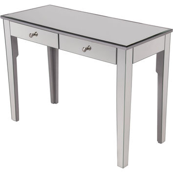 "Contempo 42""x18""x31"" Mirrored 2-Drawer Dressing Table, Silver"