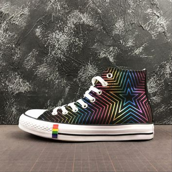 Converse All Star Chuck Taylor 70s Hi-Top Black Rainbow Multi Color Canvas Sneakers