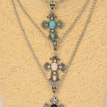 "Antiqued Silver Cross 18"" Necklace"