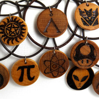 Custom Pyrography Necklace Pendant on Leather Cord