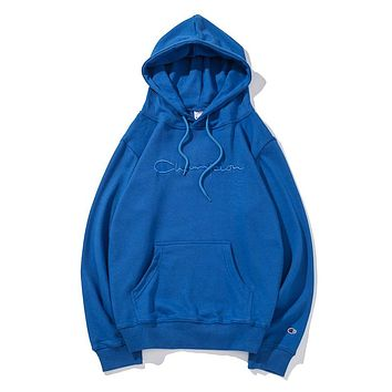 Champion Classic Popular Unisex Casual Pure Color Simple Embroidery Hooded Sweatshirt Pullover Top Blue I-CP-ZDL-YXC