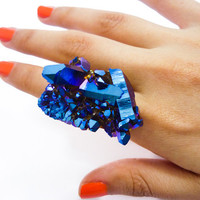 Titanium Quartz Cobalt Blue Druzy Ring Rainbow Aura by AstralEYE