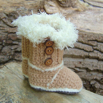 CROCHET PATTERN Ugg Style Baby Boots in 2 sizes Baby Uggs Crochet Tutorial Quick and easy pattern Instant Download Digital File