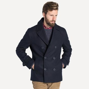 British Wool Peacoat in Navy
