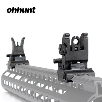 ohhunt Tactical Front Rear Sight Set Folding Design Dual Apertures Polymer Sights Fit Picatinny Rails for M4 M16 AR15 Rifle