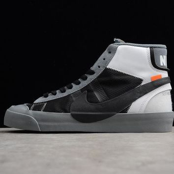 Off-White x Nike Blazer Studio Mid Wolf Grey/Pure Platinum-Black-Cool Grey The Ten